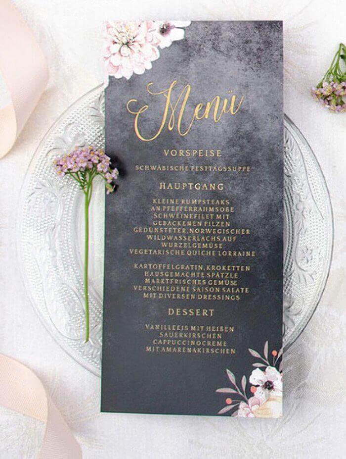 Menükarten Hochzeit Ideen