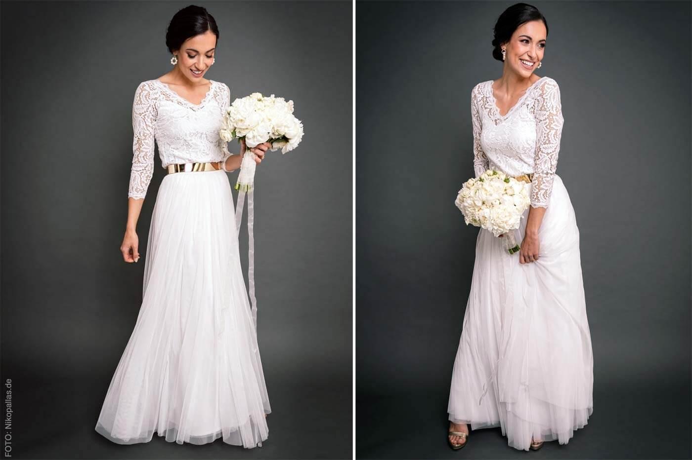 Standesamt-Kleid Weiß Spitze
