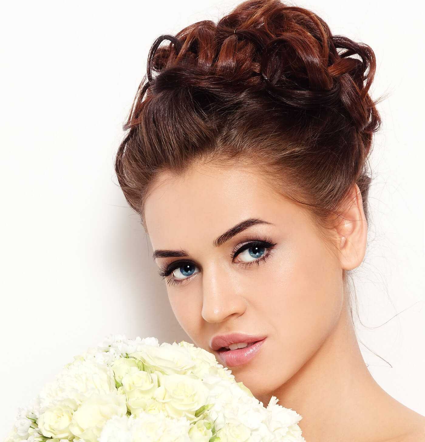 Braut Make-Up blaue Augen